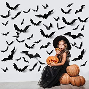 ZPOKA 60PCS Halloween Party Supplies PVC 3D Decoration Realistic Horror Bat Wall Decal Wall Sticker, DIY Halloween Decoration Home Interior Window Decoration Set (Balck)