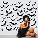 ZPOKA 60PCS Halloween Party Supplies PVC 3D Decoration Realistic Horror Bat Wall Decal Wall Sticker, DIY Halloween…