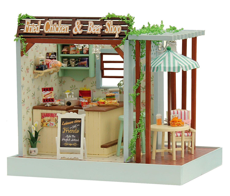 Modelo de Esquina de la Habitaci/ón y Muebles LEMOGO Kit de Miniatura Artesanal de Bricolaje casa de Mu/ñecas de Madera