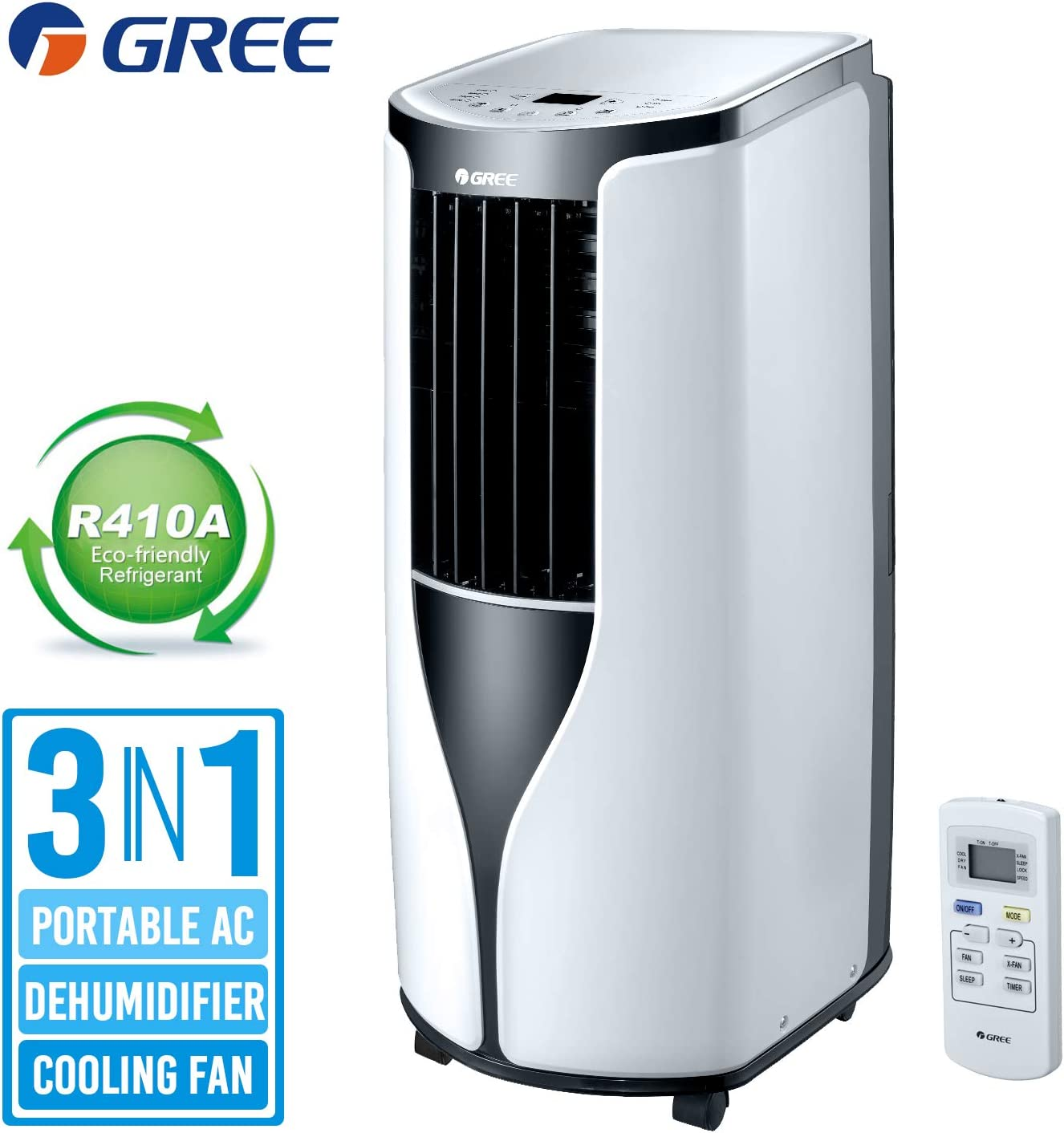Gree Shiny Air Conditioner 6000 BTU 300 Sq.Ft 3 in 1 Portable Air Conditioner/Dehumidifier/Cooling Fan Remote Control and 24 Hour Timer, Quiet Energy Efficient A, Window Kit White