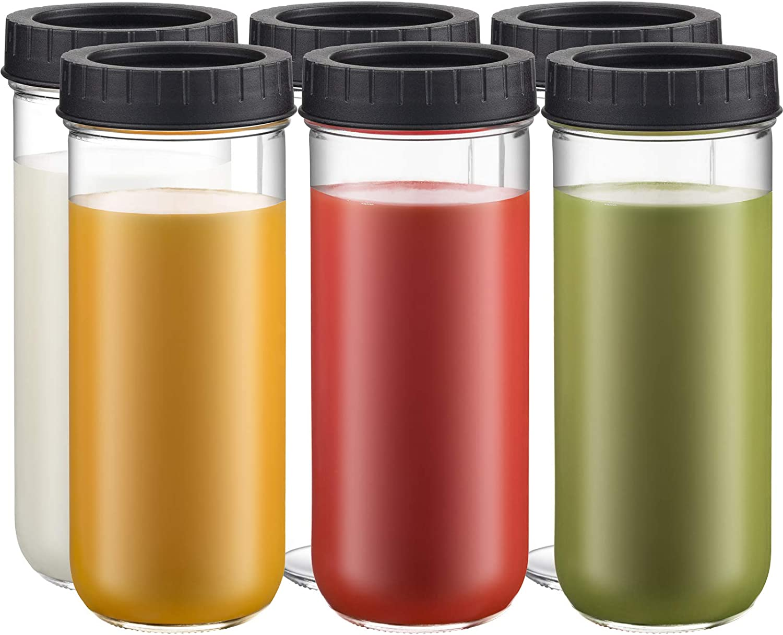 Glass Drinking Bottle Travel Drinking Jars 6 Pack, 16oz Mason Jars Regular Mouth Beverage Bottle with Airtight Lids, Reusable Water Bottle Skinny Tumbler for Juice/Smoothies/Kombucha/Tea/Milk/Shakes