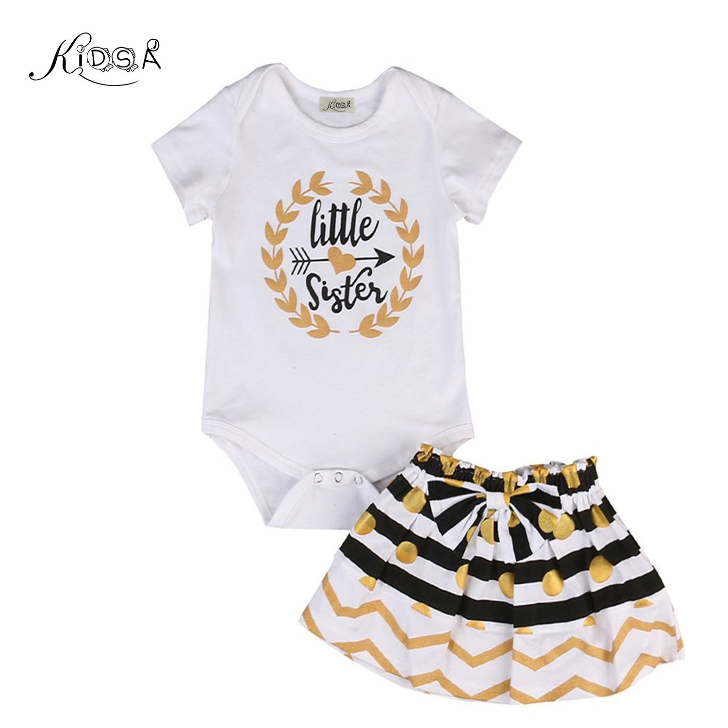 KIDSA 0-2T Little Sister & 2-7T Big Sister Matching Clothing Newborn Toddler Baby Little Girls Skirts Outfits Set