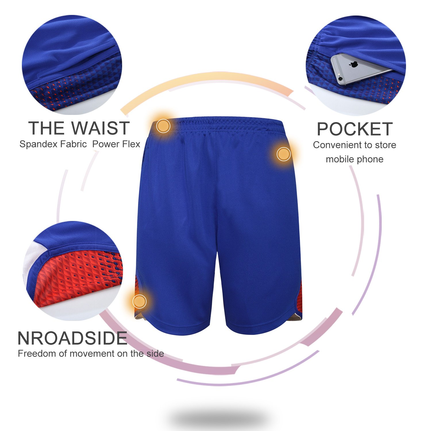 Tesuwel Mens Boys Athletic Basketball Shorts with Side Pocket for Workout Running Training Gym Blue Red