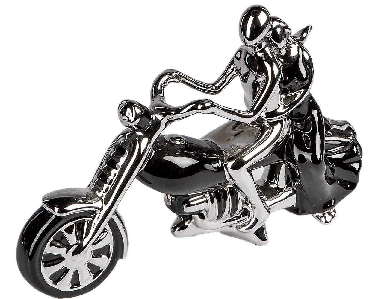 Moderne Deko Skulptur Paar auf Motorrad aus Keramik schwarz silber Länge 37 cm