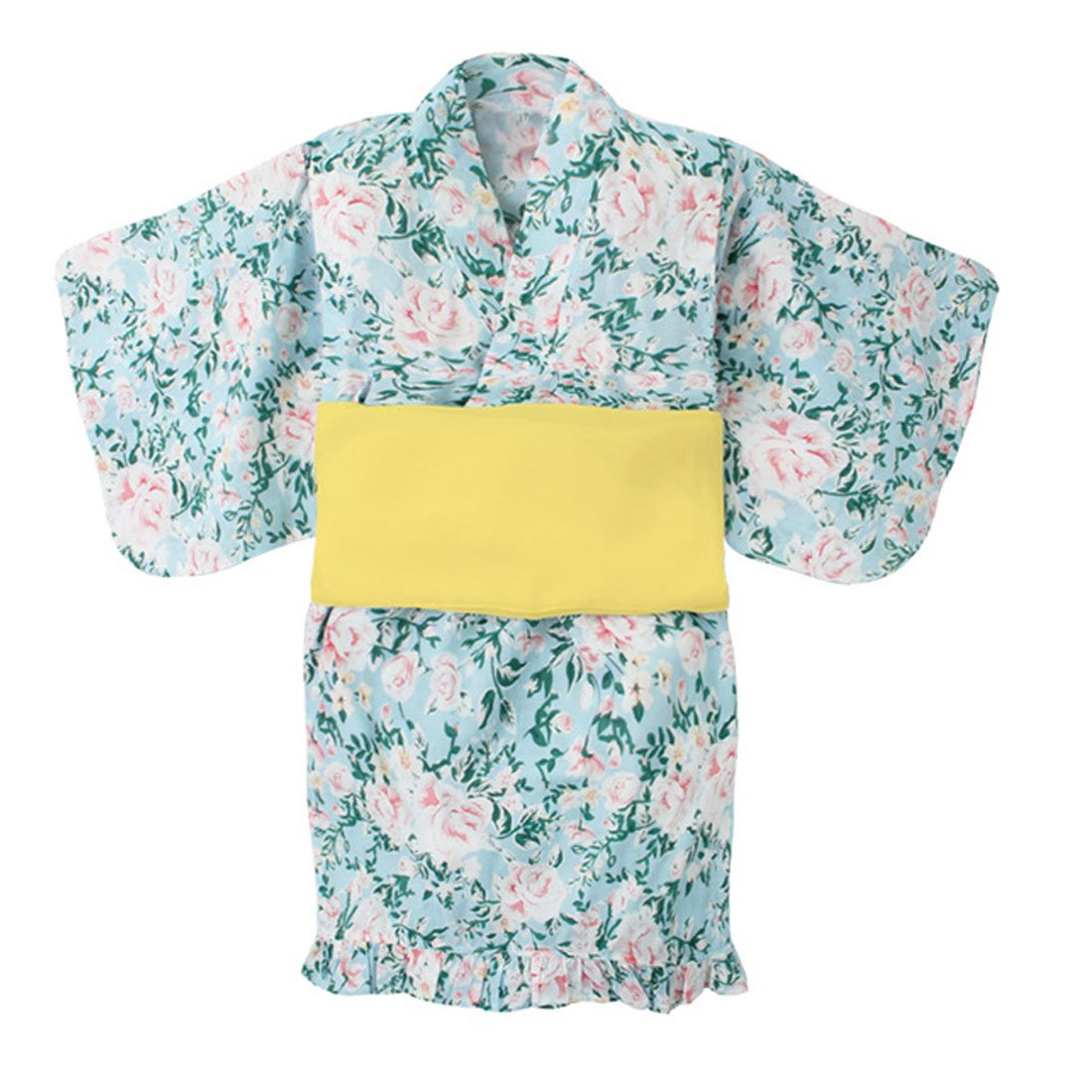 ACVIP Little Girls's Flower Print Two-Piece Kimono Dress Robe with Belt (Height 90cm/35.4 in, Blue)