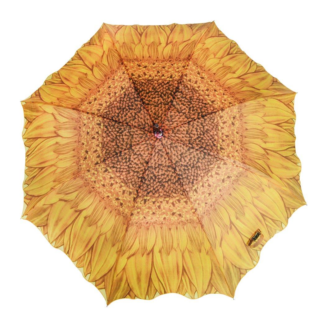 Austin House Sunflower 8 Panel Stick Umbrella, Yellow, International Carry-On Holiday Luggage AH04FL01036