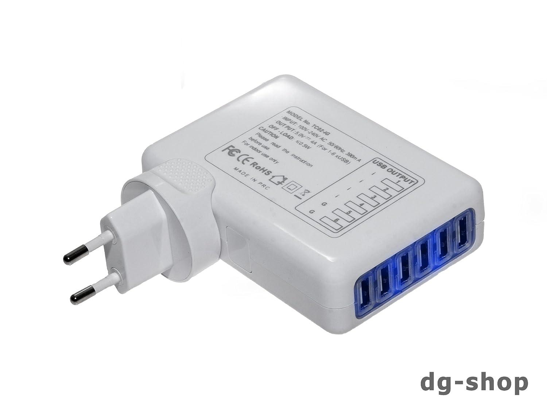 Universal Ladegerät Netzteil 6 fach USB Port Strom: Amazon.de ...