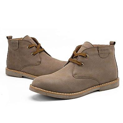 03e386967557 Gracosy Bottes pour Homme, Bottines Montante Fourree en Cuir Boots  Classique Chaussures de Ville Hiver