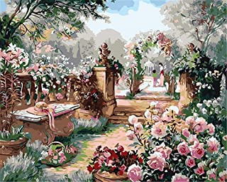 CaptainCrafts New Paint by Numbers 16x20 for Adults, Kids LINEN Canvas - Parent Child Garden (Frameless)