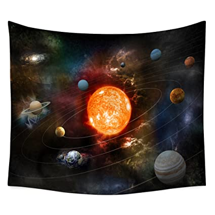 QCWN Space Galaxy Decor Tapestry Solar System Planets Together In Spaceship Mercury Jupiter Globe Saturn Universe Concept Tapestry For Living Room And