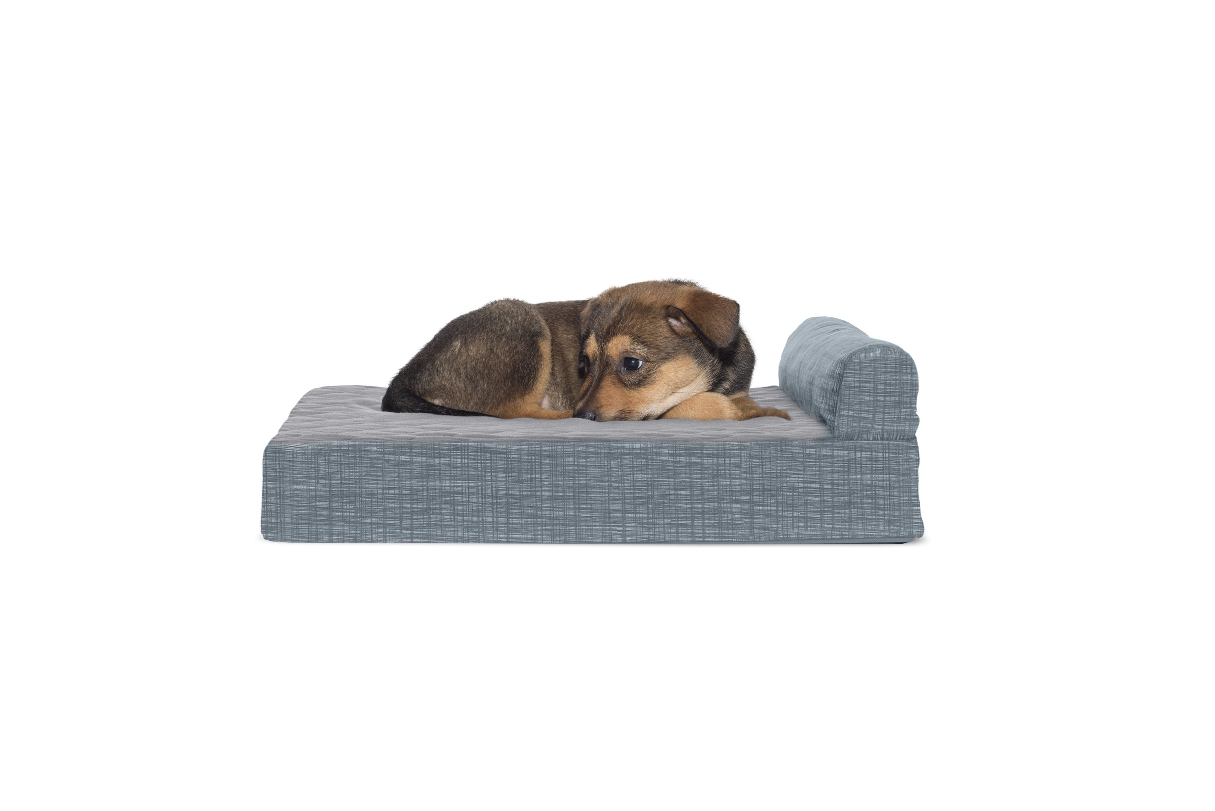FurHaven Memory Foam Suede Chaise Lounge Pet Bed for Dogs and Cats, Titanium, Small