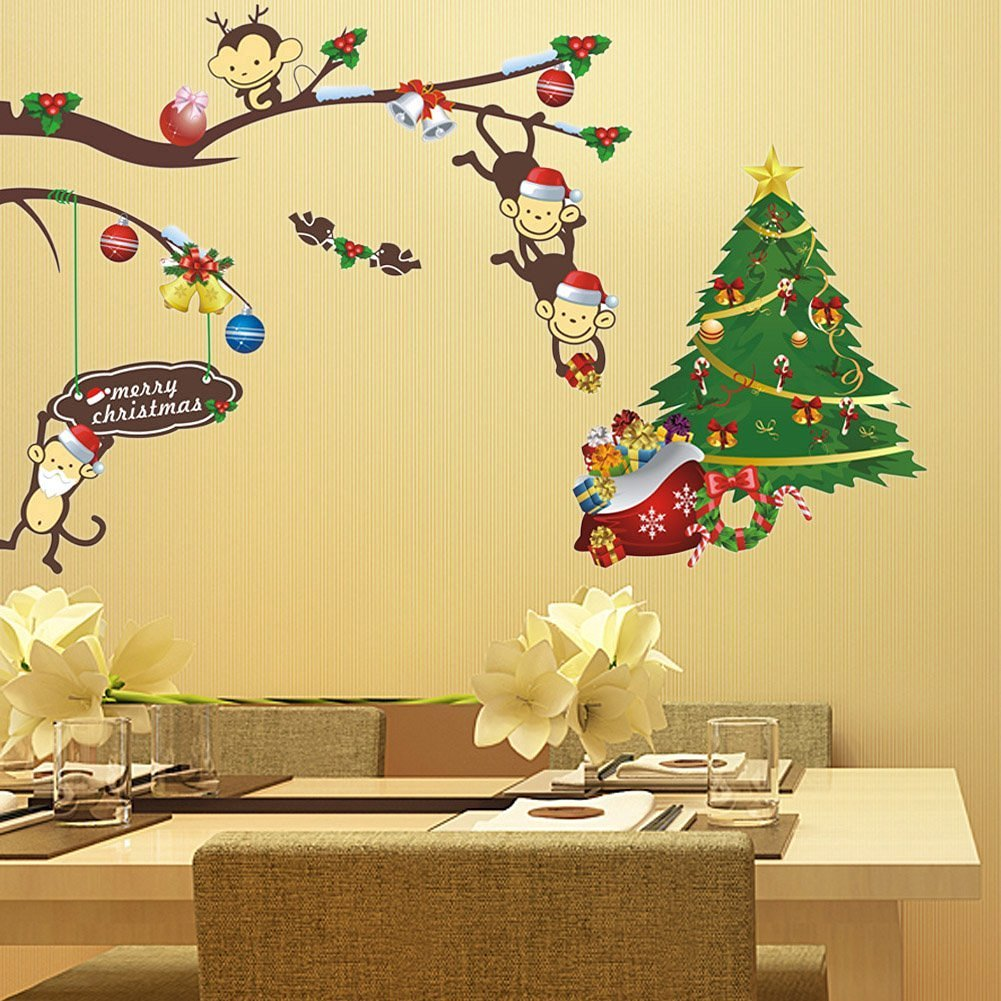 Amazon.com: BIBITIME Merry Christmas Tree Wall Stickers 4 Naughty ...