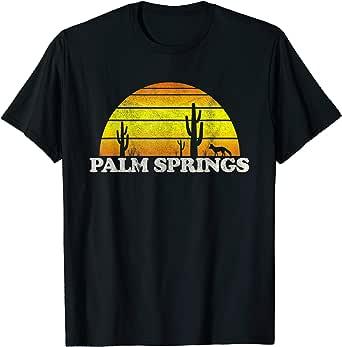 Retro Style Palm Springs California Sunset Palm Trees Beach Vacation T-Shirt
