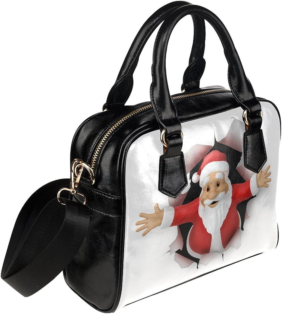 QWERDF Vintage Santa Christmas Tree Christmas,Women Genuine Nanoprint Handle Shoulder Purse Crossbody Bag