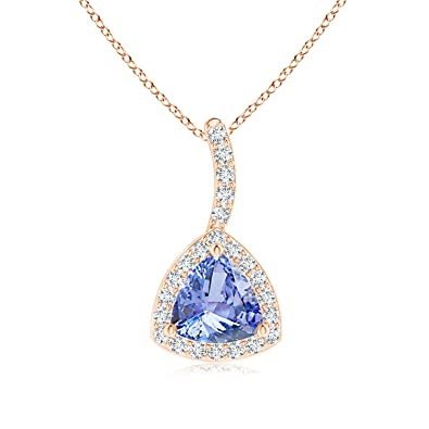 Angara Trillion Sapphire Halo Pendant with Curved Bale in 14K Rose Gold AfCzv