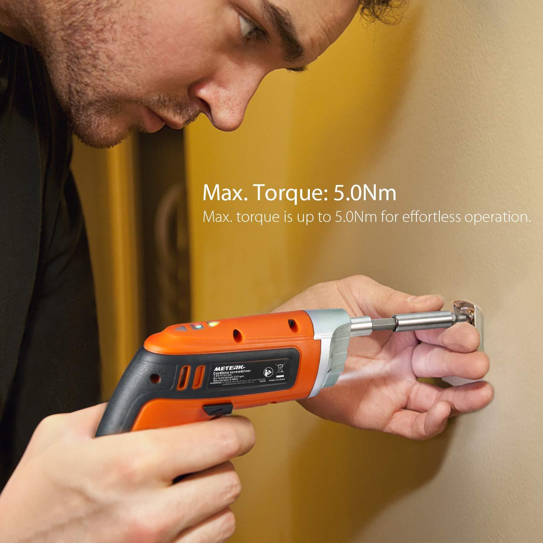 Meterk Cordless Screwdriver 3.6V 2000mAh MAX Torque 5N.m 30pcs Screw Bits, Drill Bit Extension Holder, USB Charging with LED Light by Meterk (Image #4)
