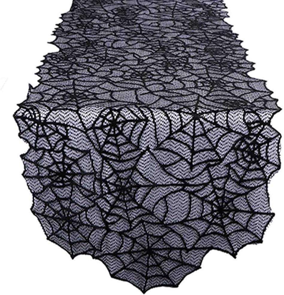 Hengxing Halloween Nappe Noir Dentelle Chauve-Souris Araign/ée Web Table Runner Halloween Fournitures Violet