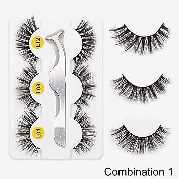 b2f4ce925e1 3pairs Faux 3D Mink Lashes Set Natural Long False Eyelashes Volume Fake  Lashes Makeup Eyelashes,