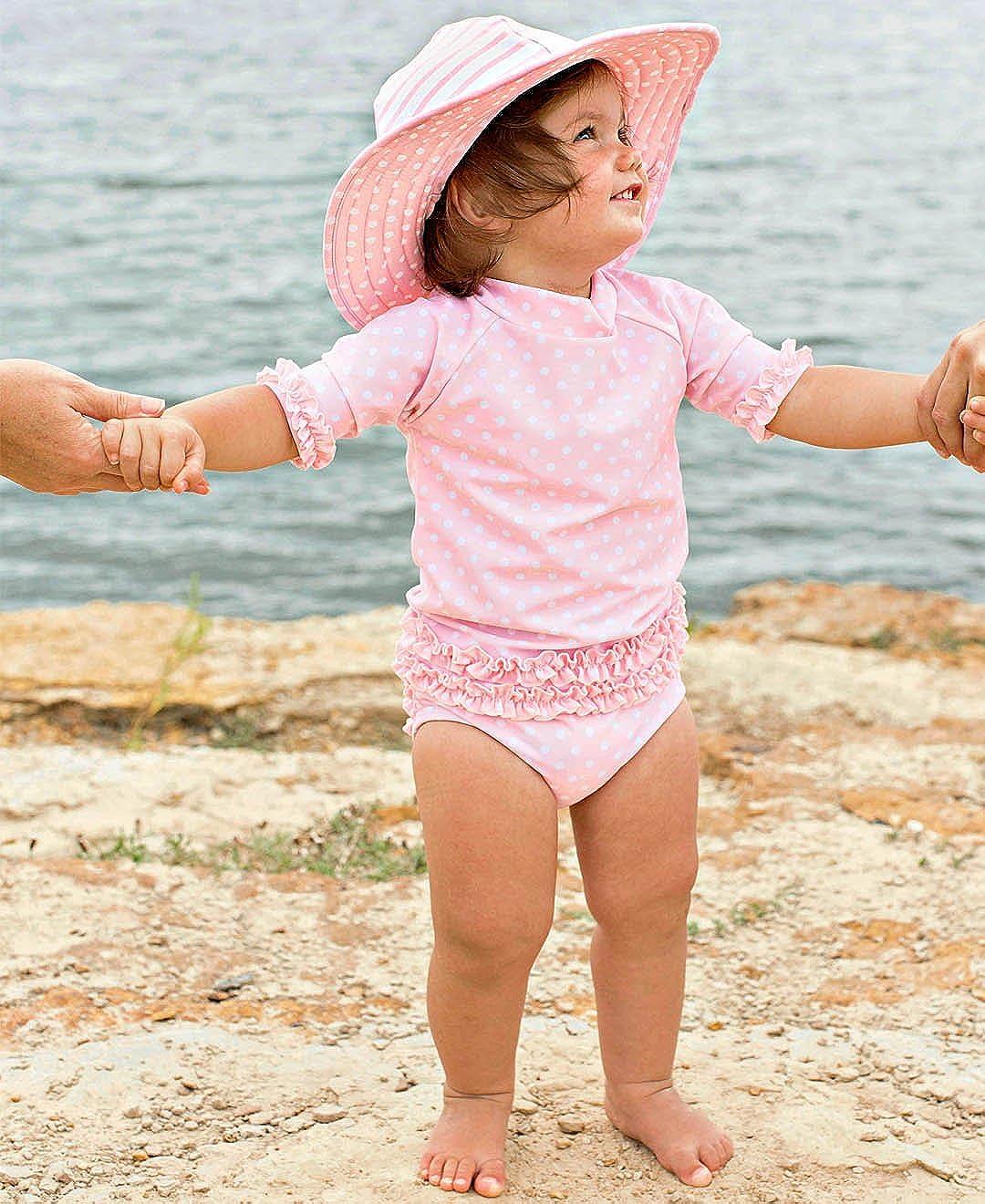 Sun Protection RGSYYXX-SSPK-SC-TDLR RuffleButts Little Girls Rash Guard 2-Piece Swimsuit Set Polka Dot Bikini with UPF 50
