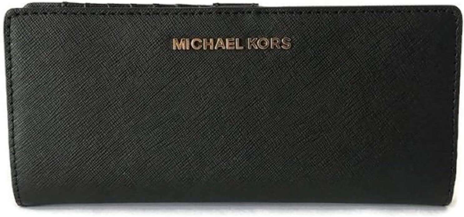 Michael Kors Jet Set Travel Medium Flat Bifold Leather Wallet (Black)