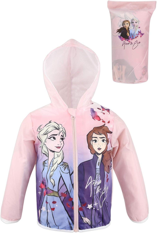 Disney Frozen 2 Parka Giacca a Vento Leggera Impermeabile Fodera a Rete con Cappuccio e Sacca Bambina