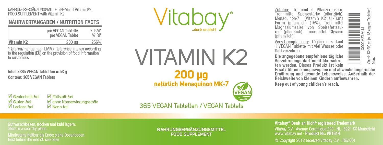 Vitamina K2 200 ?g (por supuesto Menaquinone MK-7) (365 tabletas veganas): Amazon.es: Salud y cuidado personal
