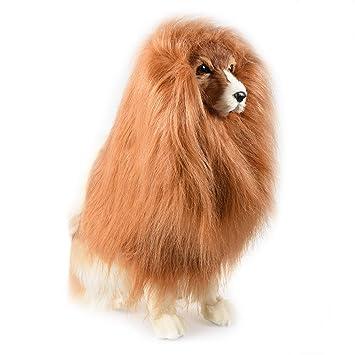 Petacc Peluca de melena ajustable Melena Disfraz de león realista Disfraz de mascota adorable Peluca de