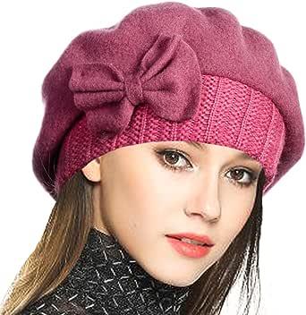 VECRY Mujer Boina 100% Lana Vestido Beanie Invierno Sombrero