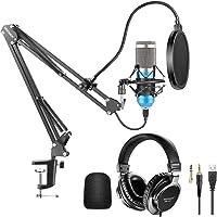 Neewer USB Microphone Kit 192KHz/24Bit Plug&Play Cardioid Condenser Mic (Blue) with Monitor Headphones, Foam Cap, Arm…
