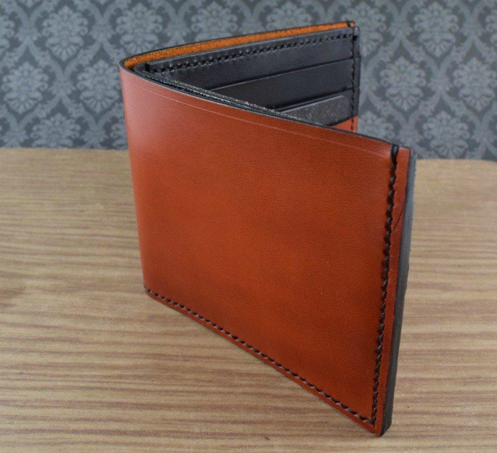 Handmade Leather Wallet | Tan & Black | Bi-fold Wallet | Billfold Wallet | Full Grain Leather | Made in the USA