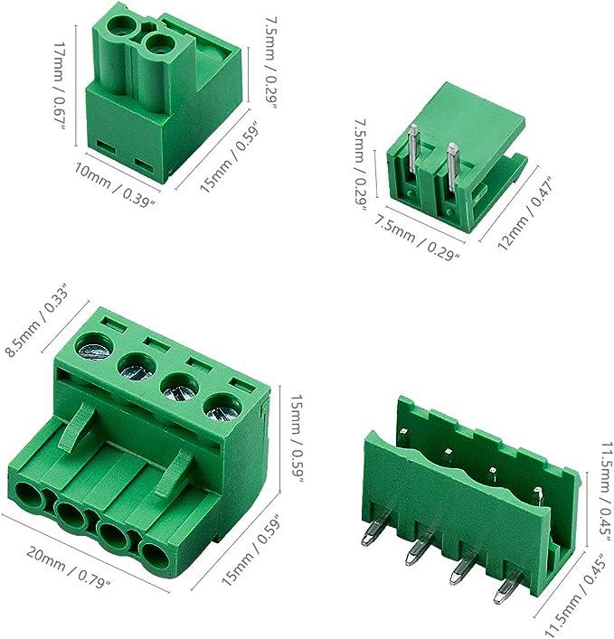 cococity 5.08 mm 2 Pines//4 Pines PCB Bloque de Terminal de Tornillo de Montaje para Arduino 2PIN-22Piezas, 4PIN-22 Piezas