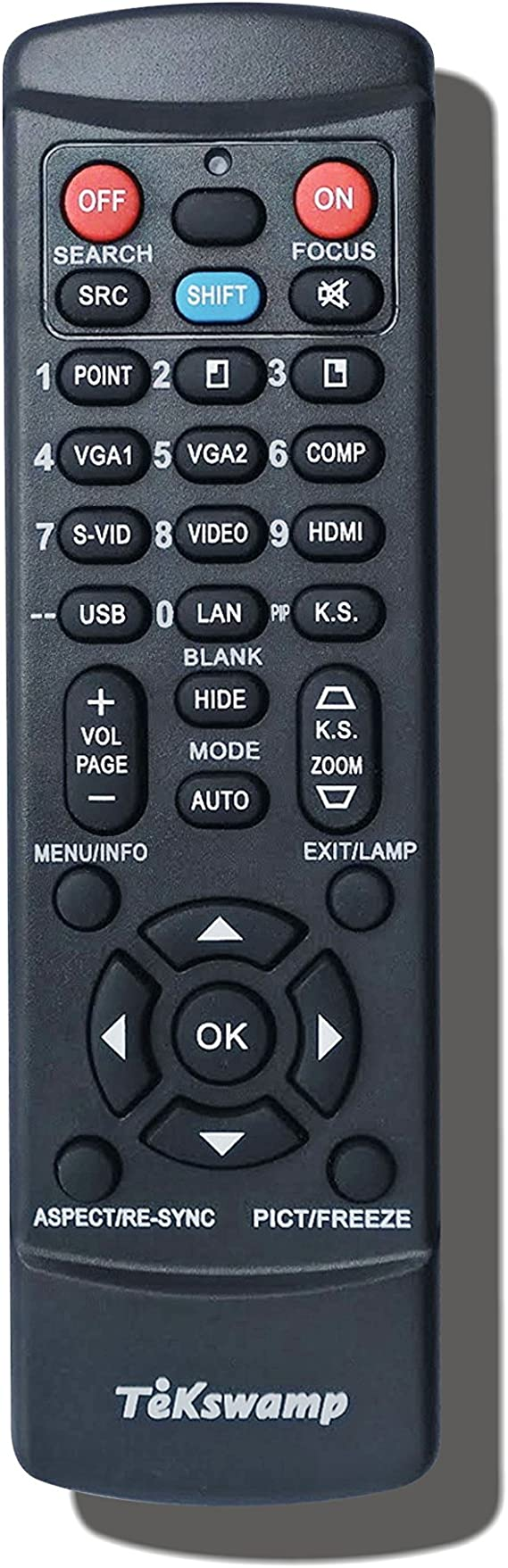 for Casio XJ-S42 TeKswamp Video Projector Remote Control Black