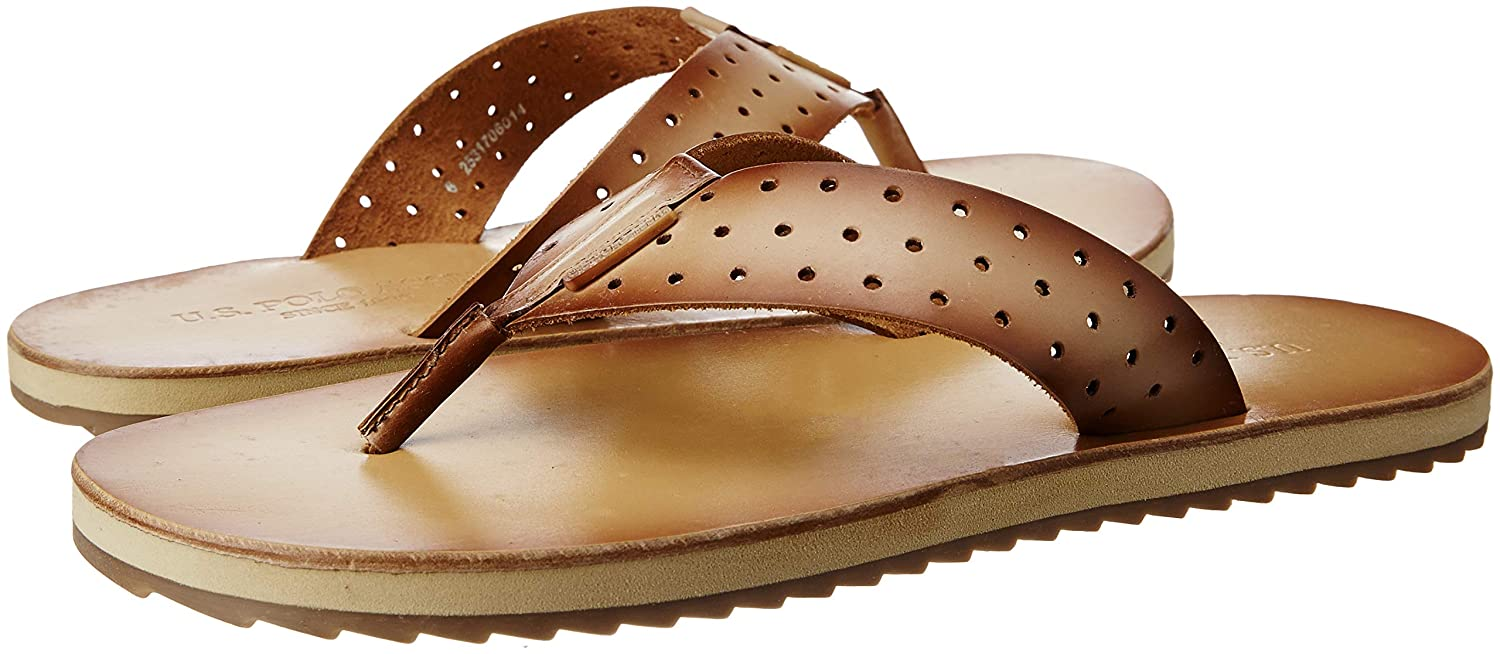 wholesale outlet large discount best prices US Polo Association Men's Beige Leather Sandals and Floaters ...