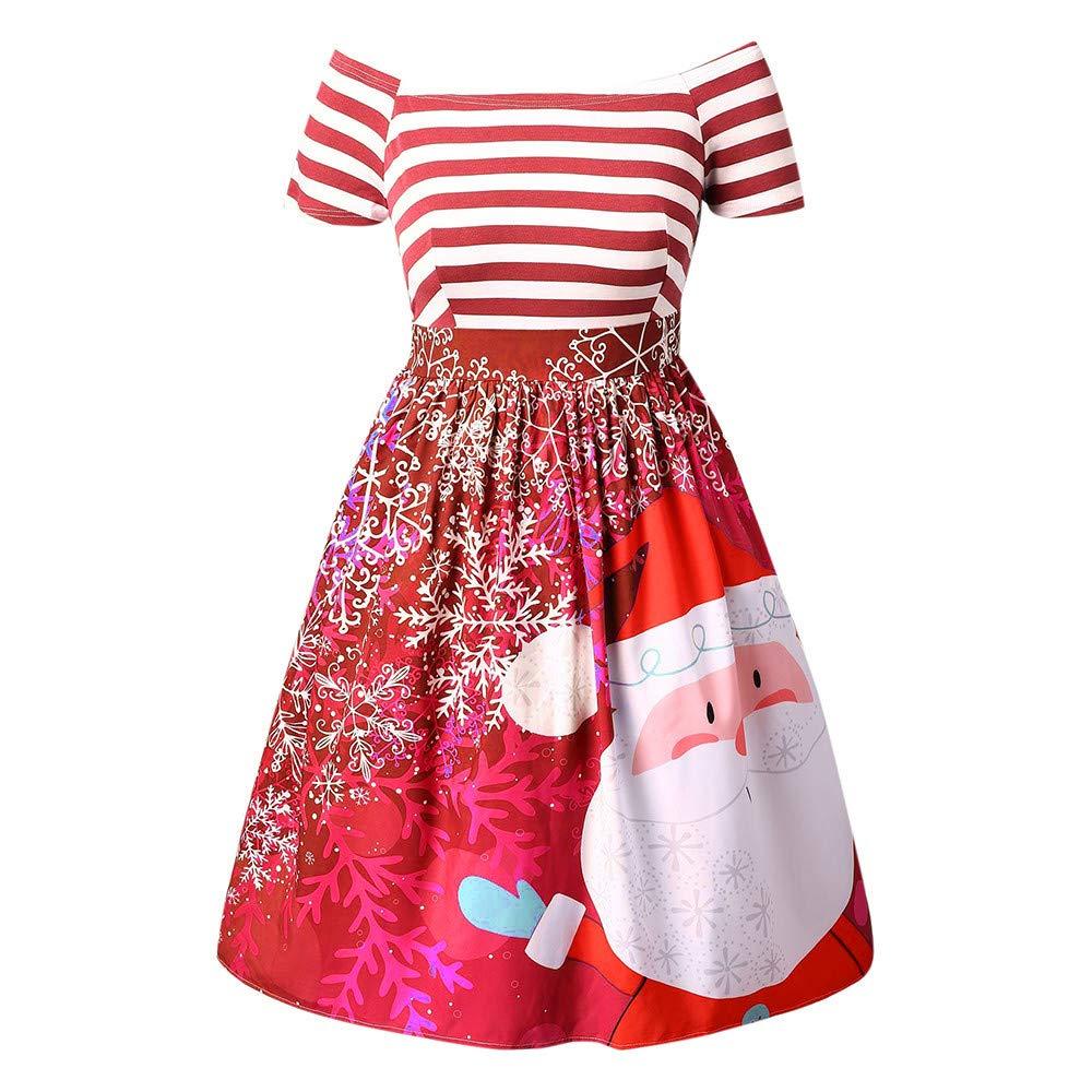 Women Dresses Women's Santa Claus Striped Printed Dress Evening Prom Costume Swing Dress