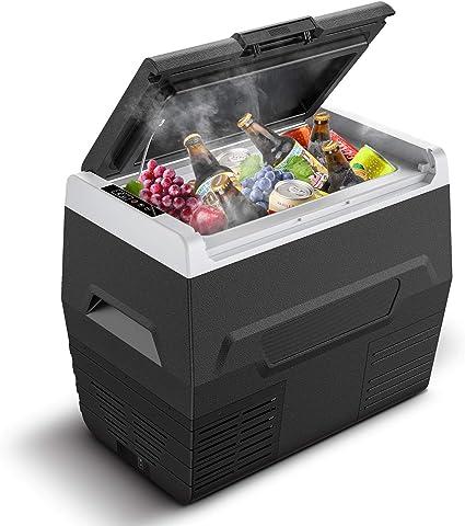 CALMDO 35L Nevera Portátil Eléctrica con Compresor, Mini Refrigerador de Coche con Pantalla LED, 12/24/220 V con Cable de CA y CC para Camping, ...