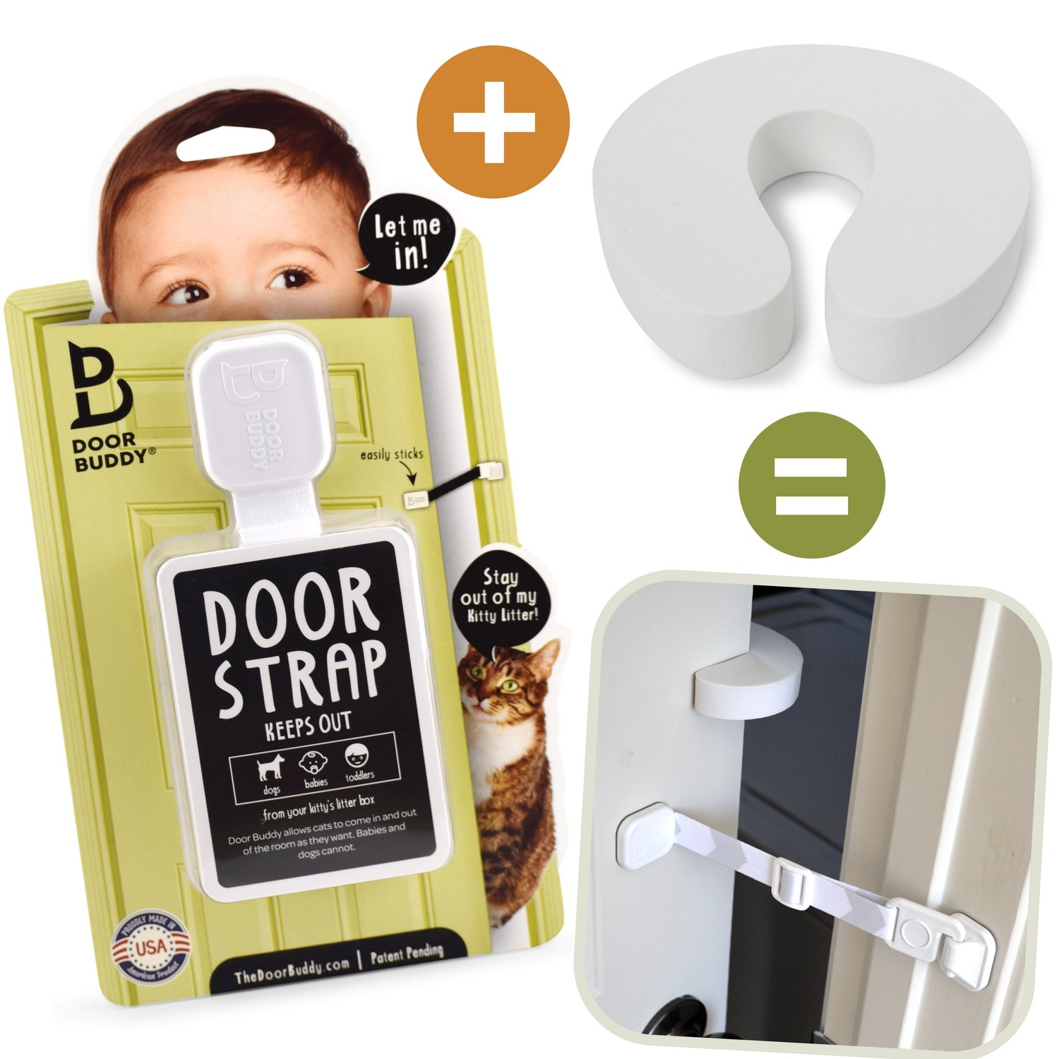 Door Buddy Baby Proof Door Lock Plus Foam Finger Pinch Guard. Keep Baby Out of Room AND Prevent Door From Closing. Cats Enter Easily. No Tools Installation. Easy and Convenient to Use! (Grey) Ultaca DB-BBY-GPGC