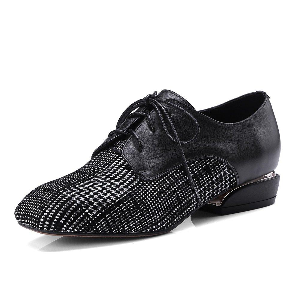 YORWOR Zapatos de Cordones Mujer Moda Enrejado Oxford de Cuero 39 EU|Negro