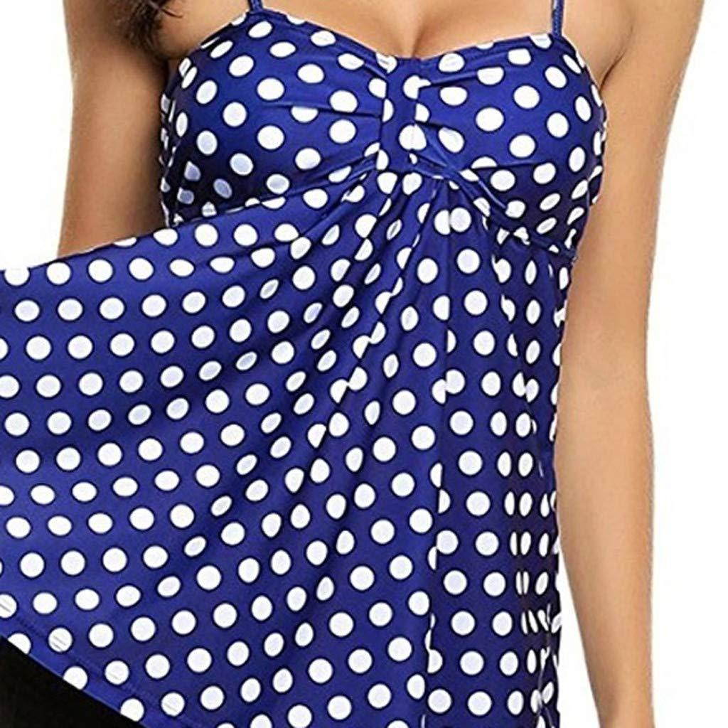 Allywit Swimsuit,Women Beach Dot Print Tankini Piece Bathing Surfing Swimwear Suit Plus Size Blue