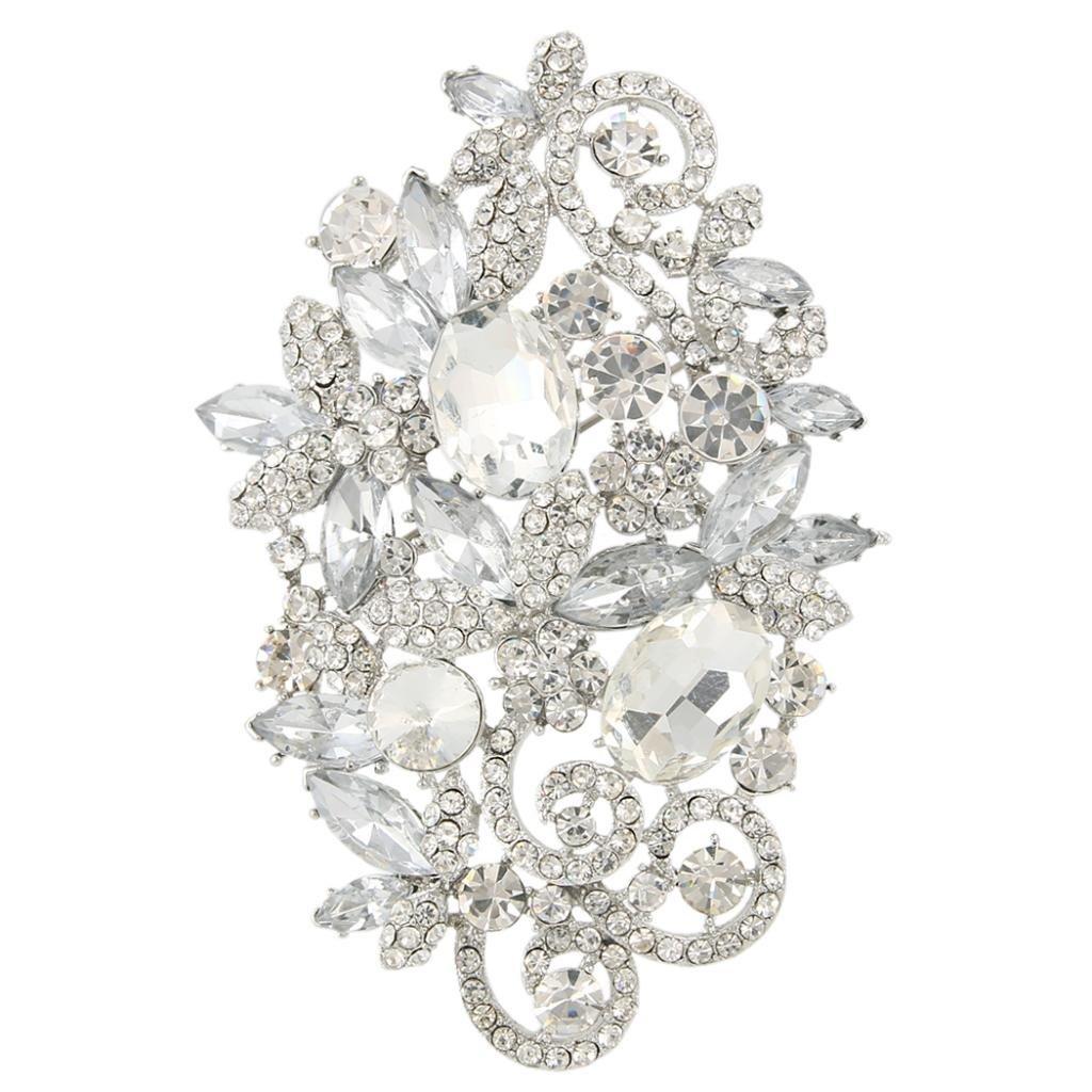 EVER FAITH Women's Austrian Crystal Wedding Elegant Floral Leaf Vine Brooch Pendant Clear Silver-Tone