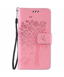 Yiizy LG K5, X220 Custodia Cover, Alberi Disegno Design Sottile Flip Portafoglio PU Pelle Cuoio Copertura Shell Case Slot Schede Cavalletto Stile Libro Bumper Protettivo Borsa (Rosa)