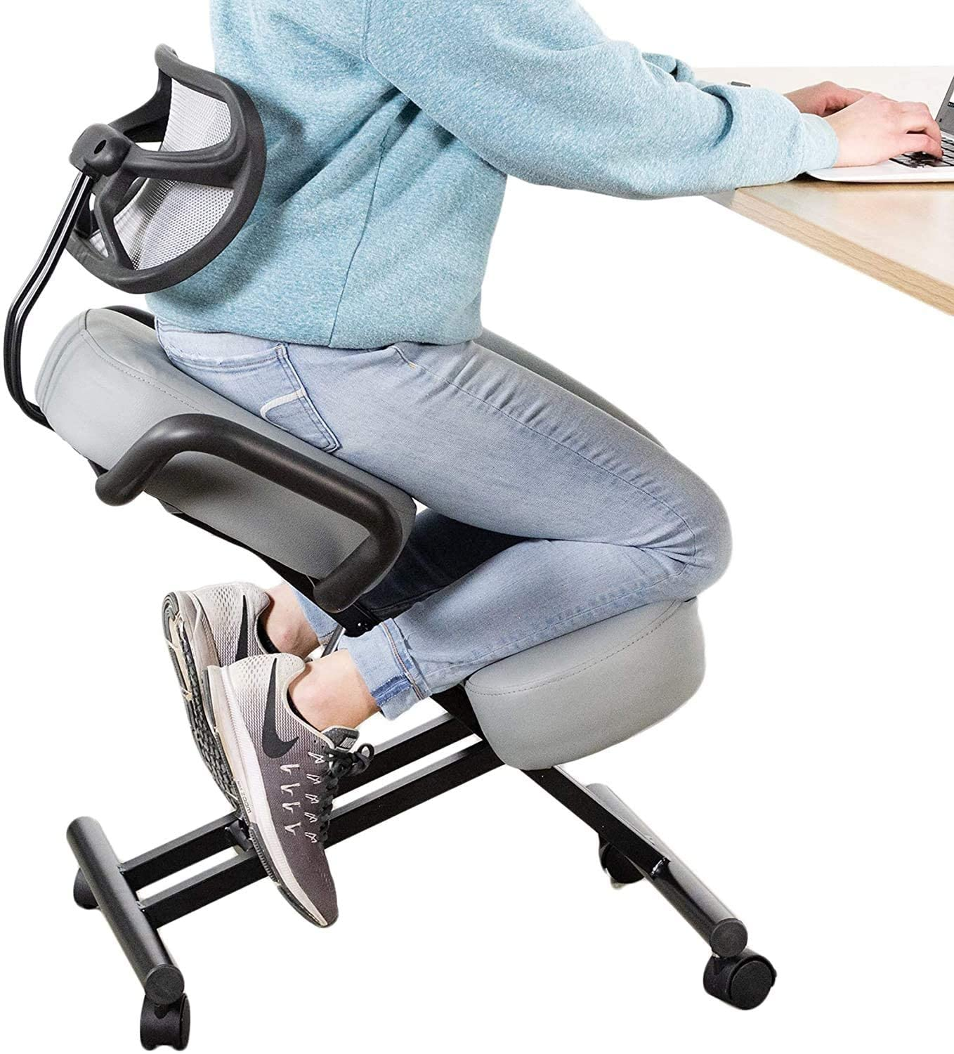 DRAGONN (by VIVO) Ergonomic Kneeling Chair with Back Support, Adjustable Stool for Home and Office with Angled Seat for Better Posture - Thick Comfortable Cushions, Gray (DN-CH-K02G)