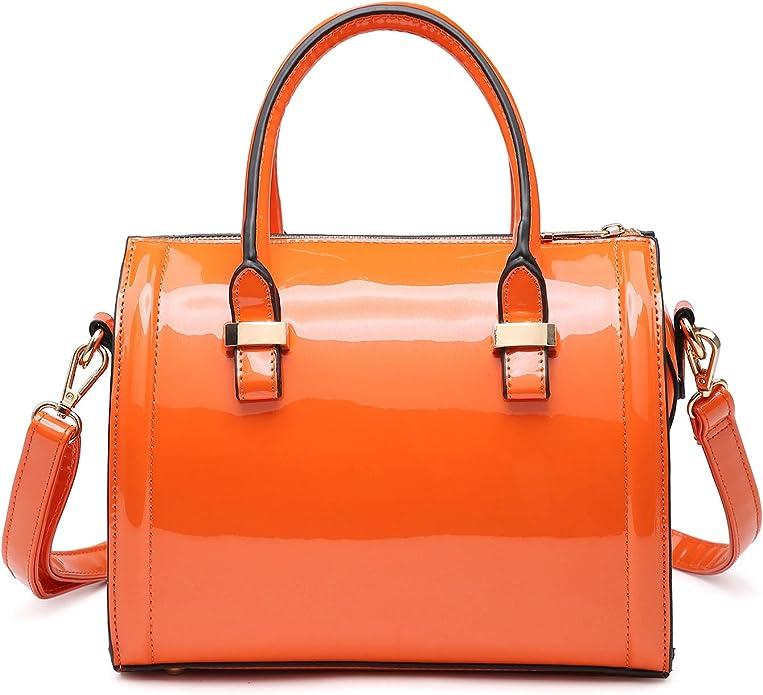 Vintage Handbags, Purses, Bags *New* Shiny Patent Faux Leather Handbags Barrel Top Handle Purse Satchel Bag Shoulder Bag for Women  AT vintagedancer.com