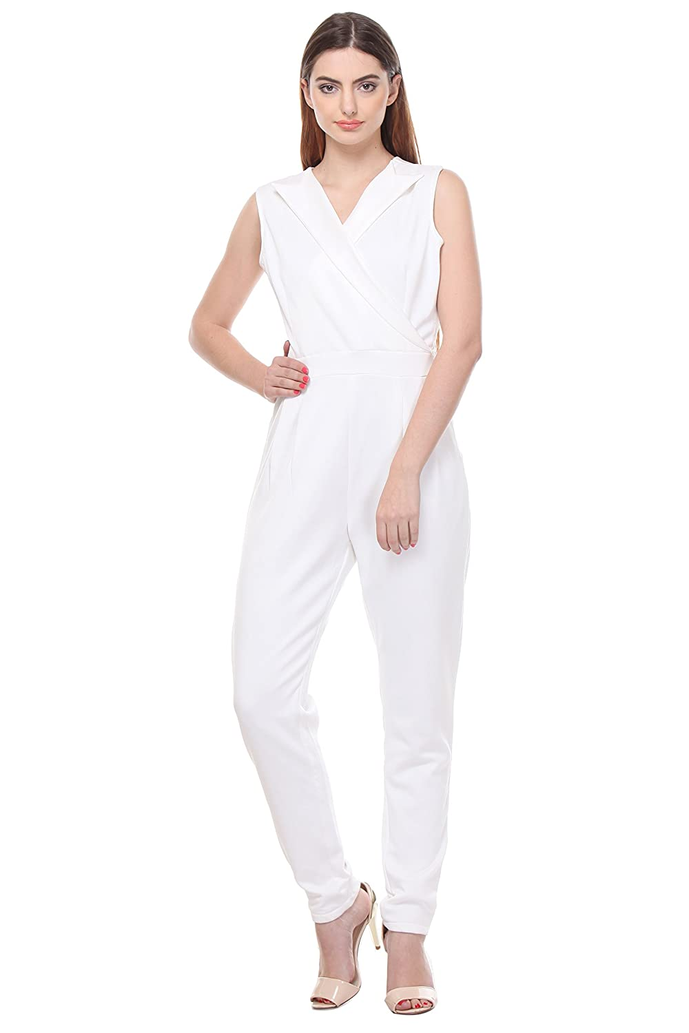 2fddcf85ee1 AIDA Women s White Jersey Cross Back Solid Jumpsuit  Amazon.in  Clothing    Accessories