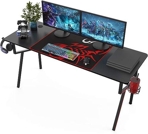 Best modern office desk: It's_Organized Gaming Desk 63 inch K-Frame Design Home Office Desk,Professional Gamer Workstation