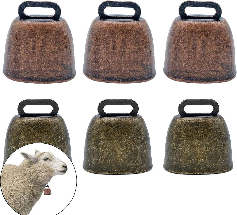 KuuGuu FAFAHOUSE 6 Pack Small Brass Bell,Cow Horse Sheep Grazing Copper Bells,Cattle Farm Animal Loud Bronze Bell,Pet Anti-Theft Accessories Bell