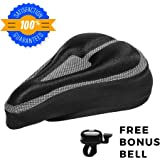 Padded Bike Seat Cushion Cover: Comfortable, Durable Gel Bicycle Pillow Pad for Mountain Bikes, Road Bikes, Cruiser Bikes, Exercise or Spin Bikes - Black Saddle Padding Support for Adults or Kids
