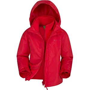 Storm Flap Childrens Travel Coat Mountain Warehouse Orbit Girls Jacket for Daily use Navy 9-10 Years Casual Jacket Waterproof Rain Coat Fleece Lined Collar Adjustable Cuffs