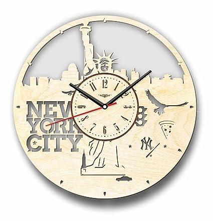 Horizonte de la ciudad de Nueva York reloj de pared hecho de madera – perfecto y