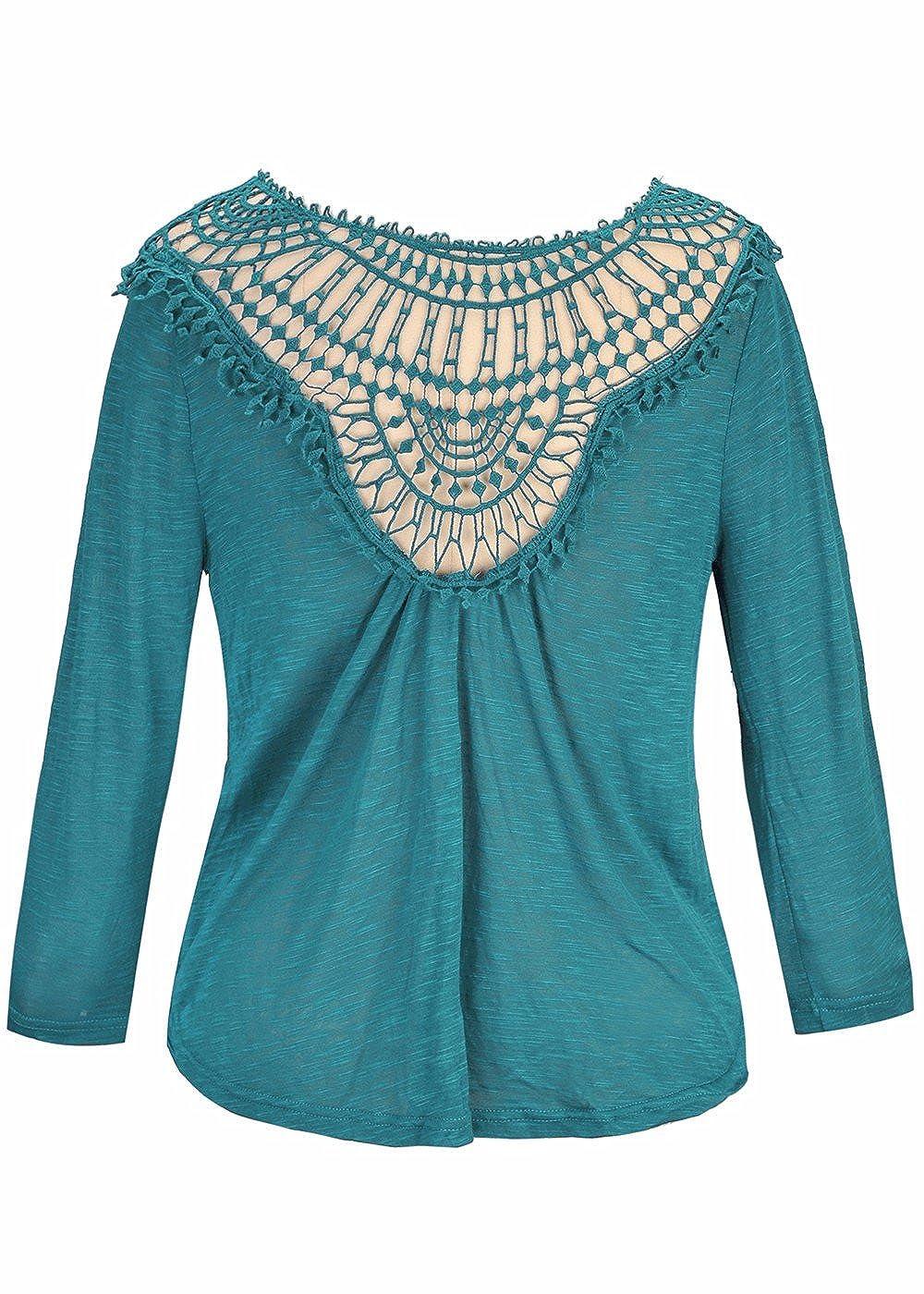 Las camisetas de manga larga cortadas del cuello atractivo para mujer de O forman las camisetas ocasionales: Amazon.es: Ropa y accesorios