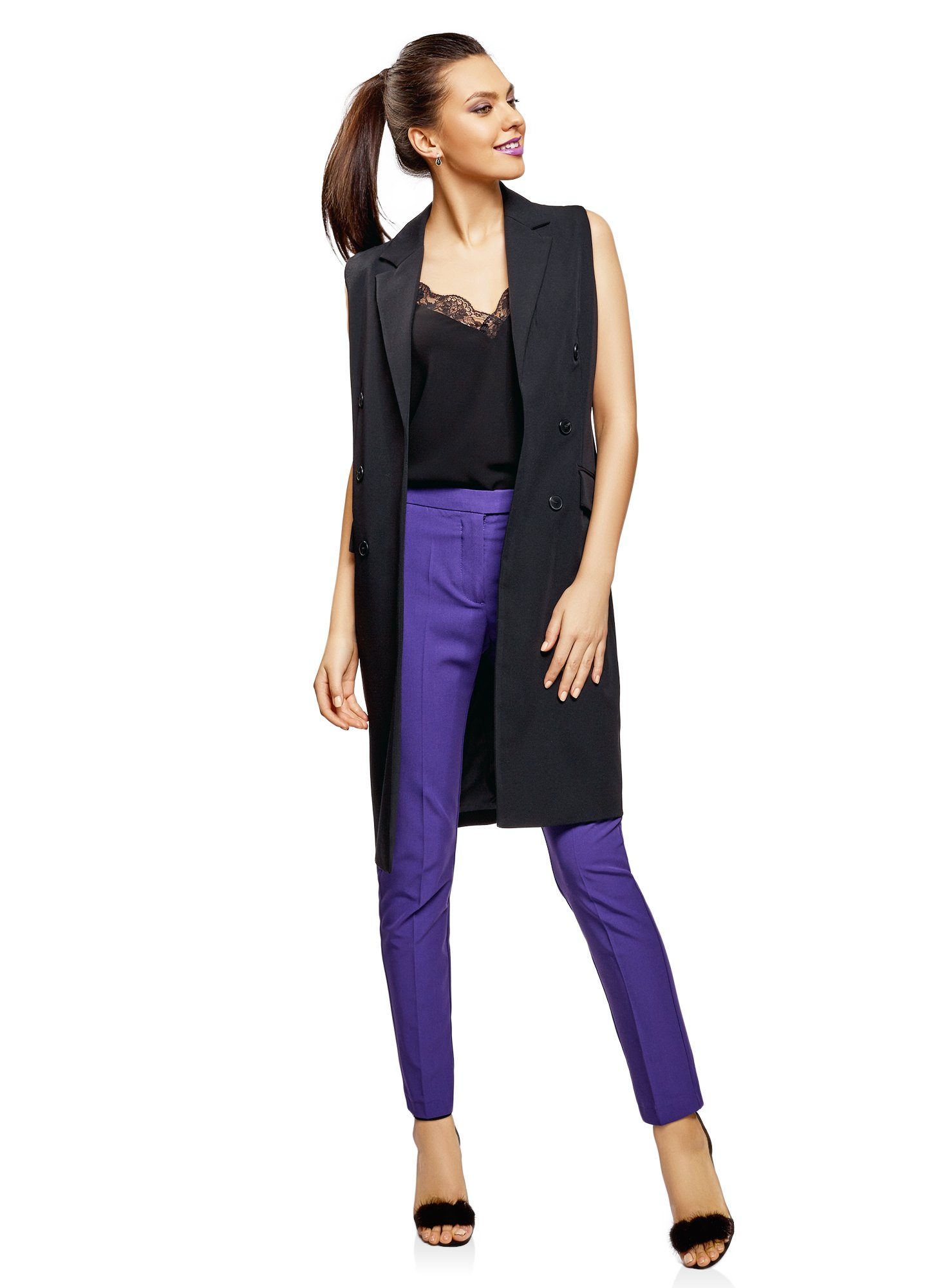 oodji Ultra Women's Long Vest with Decorative Buttons, Black, US 0 / EU 34 / XXS